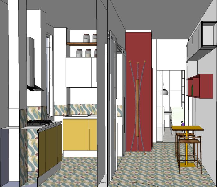 sezione cucina e ingresso