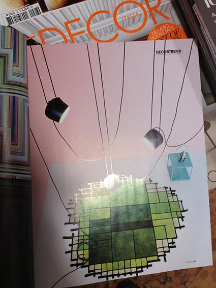 """Luci a grappolo di Flos e particolare tappeto stile mondrian di Nodus da """"Elle decor"""" Sett 2013"""