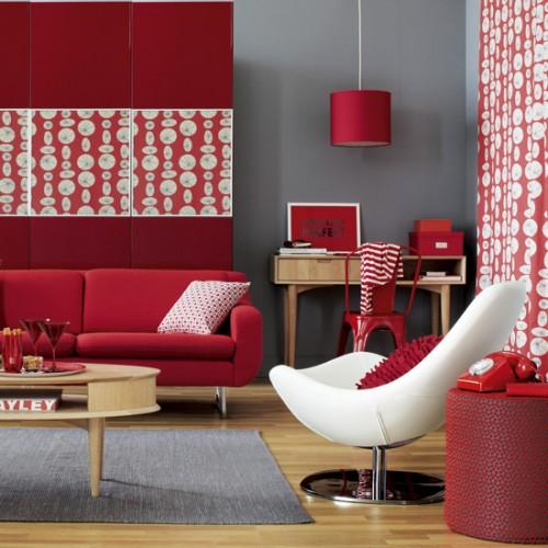abbinamento moderno rosso-grigio
