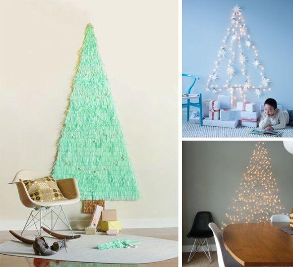 albero a parete, occupa poco spazio e basta davvero poco:un filo di luci.