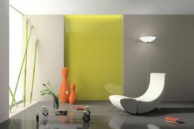 un esempio di come colorando una nicchia o una sezione di parete possa creare l'illusioni uno spazio diviso