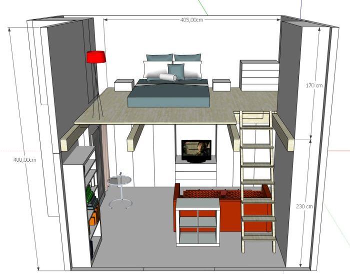 progetto soppalco per creare una camera da letto
