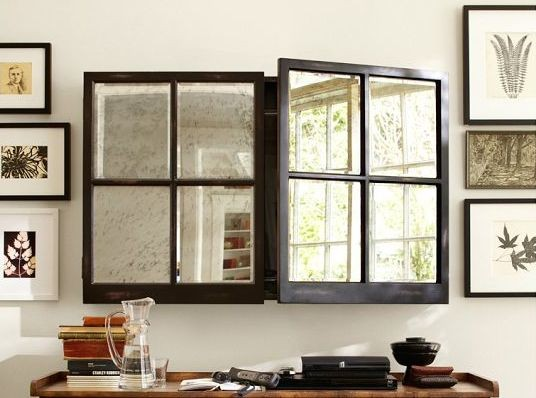 """televisione e """"finestra by  pottery barn-flat-tv-cabinet-remodelista"""