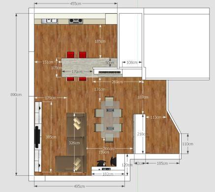 progetto living ingresso e cucina open space