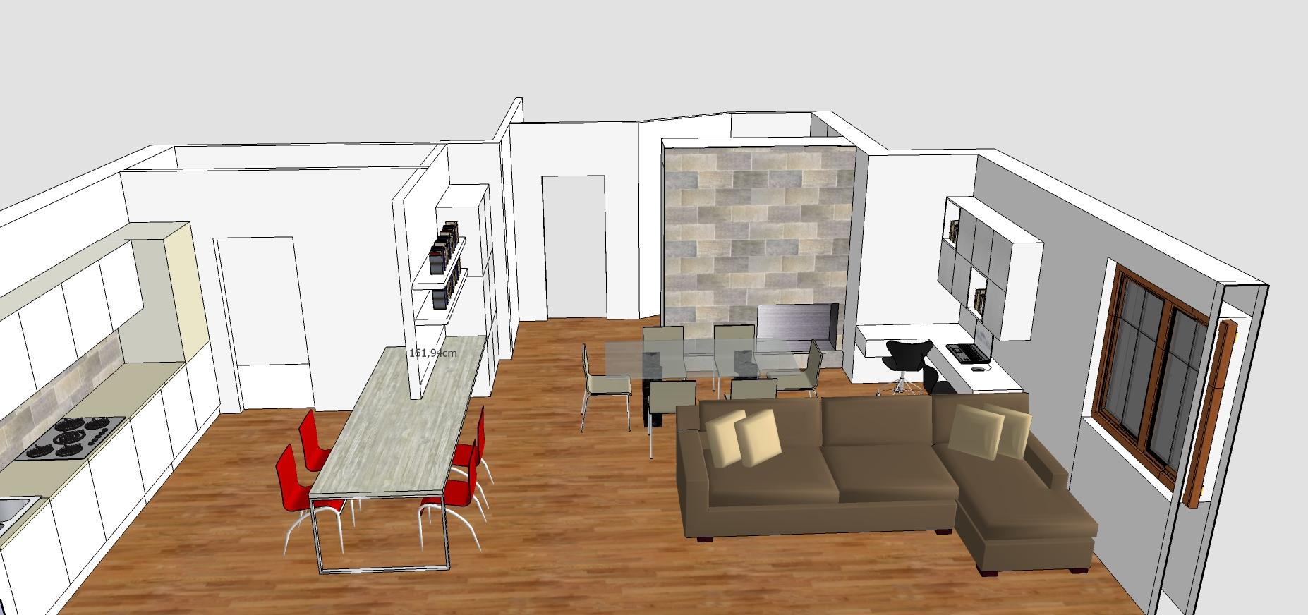 Sala e cucina 50 mq