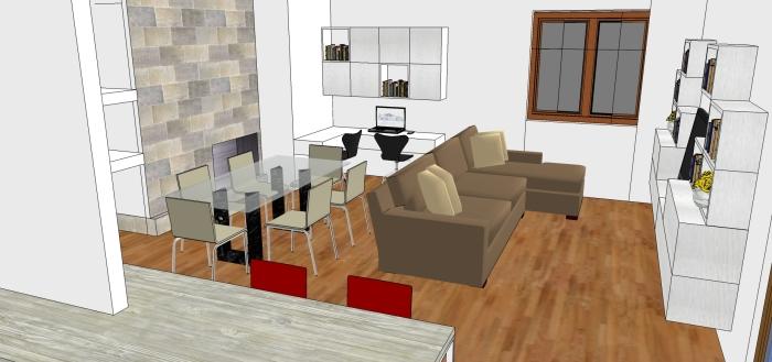 Living cucina ingresso e studio in 50 mq mayday casa for Living con camino
