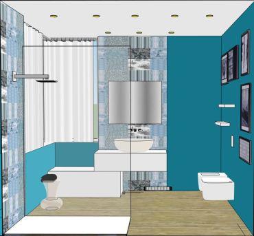un azzurro deciso per il progetto bagno