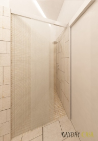 progetto-maydaycasacabina doccia in nicchia asimmetrica