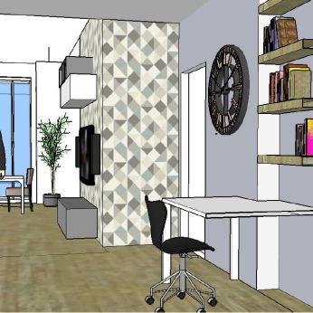 """Progetto soggiorno, ingresso e cucina di 38mq in stile """"Geometric ..."""