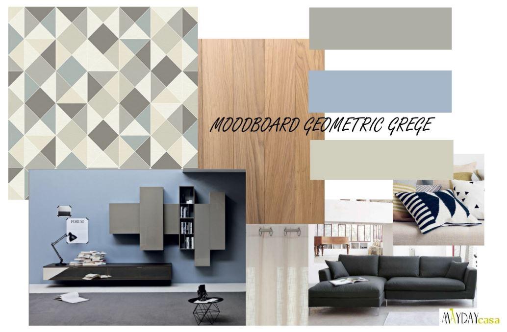"""Progetto soggiorno, ingresso e cucina di 38mq in stile """"Geometric Grege""""  Mayday Casa Blog e ..."""