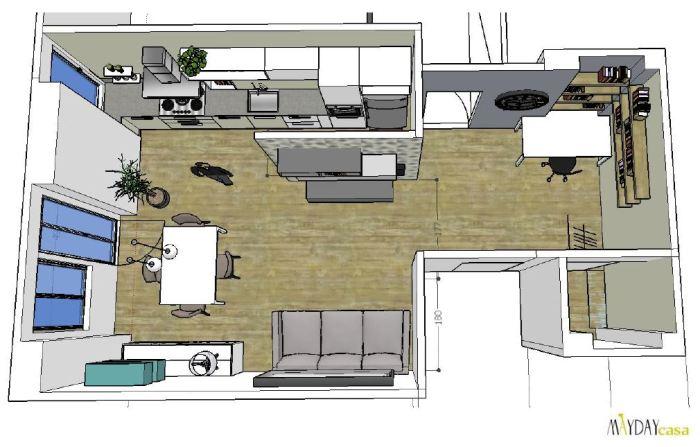 progetto soggiorno, ingresso e cucina di 38mq in stile ?geometric ... - Soggiorno Living Progetto 2