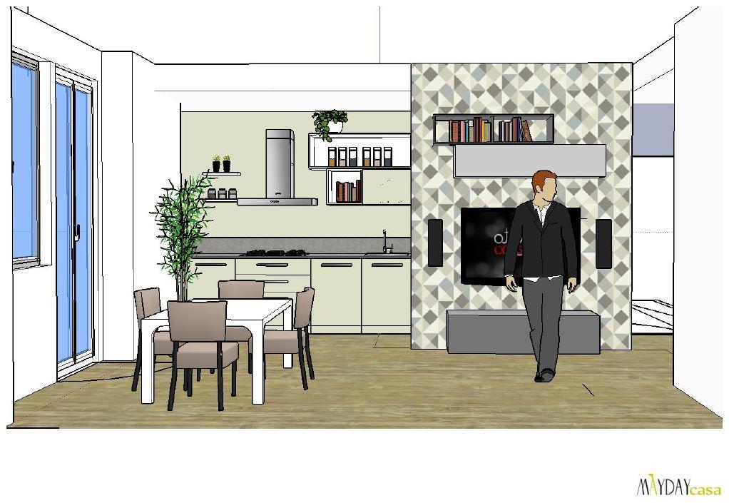Progetto living ingresso soggiorno grigio avio beige for Progetto cucina soggiorno